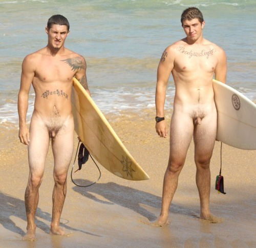 Naked male surfers