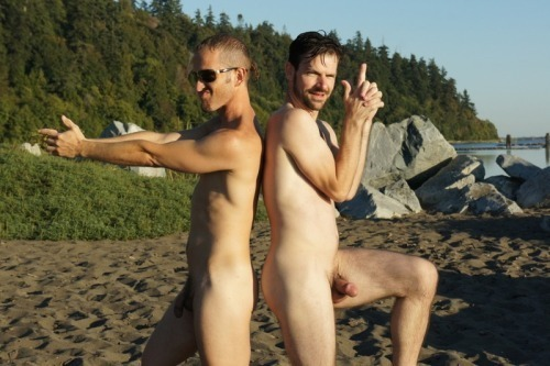 two guys naked at the beach