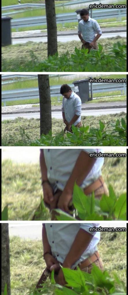 hidden cam guy peeing in the trees