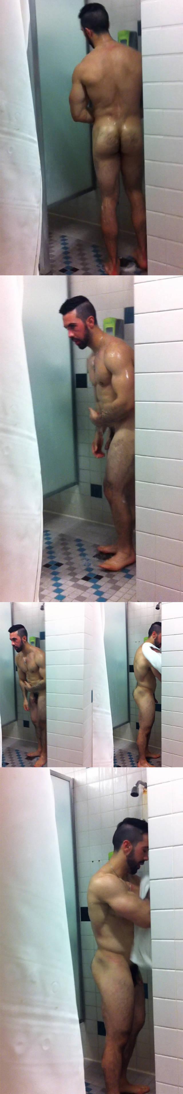 spycam stud naked shower full frontal