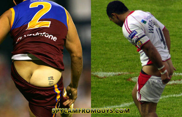 arse exposed football players