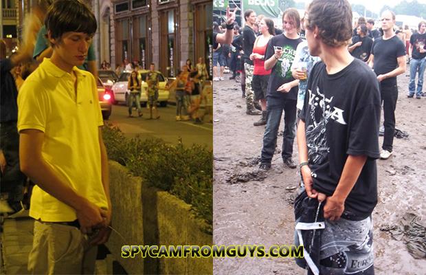guys caught peeing in public