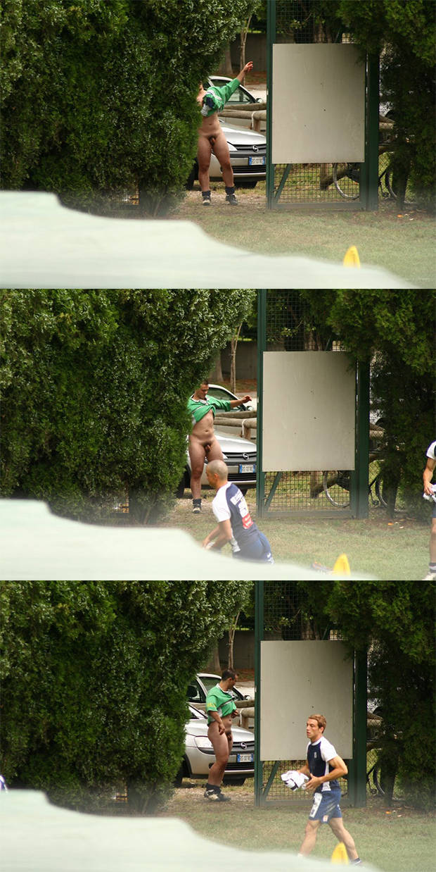 hidden cam athlete caught changing naked in public