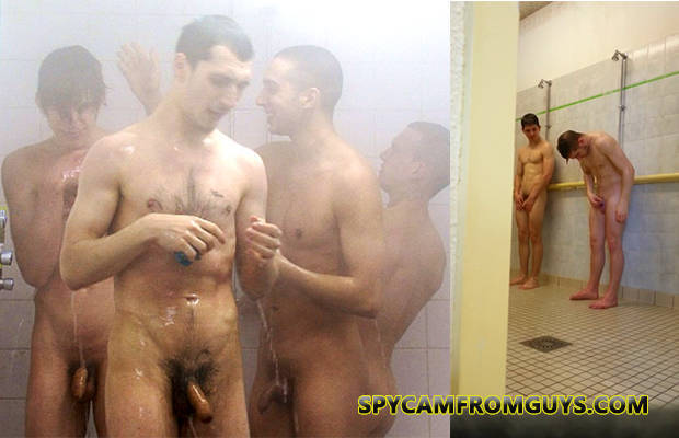 Naked in the locker room shower