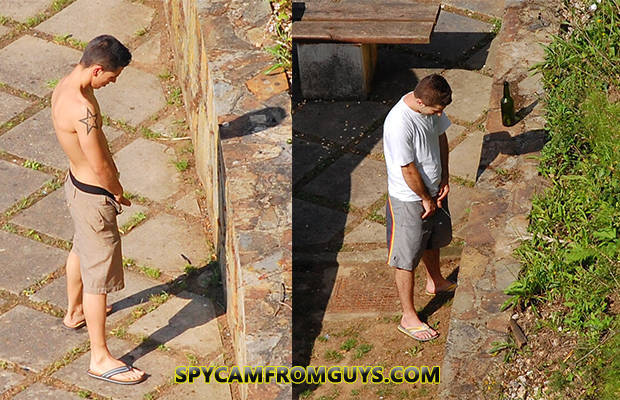 spy cam guys caught peeing outdoor