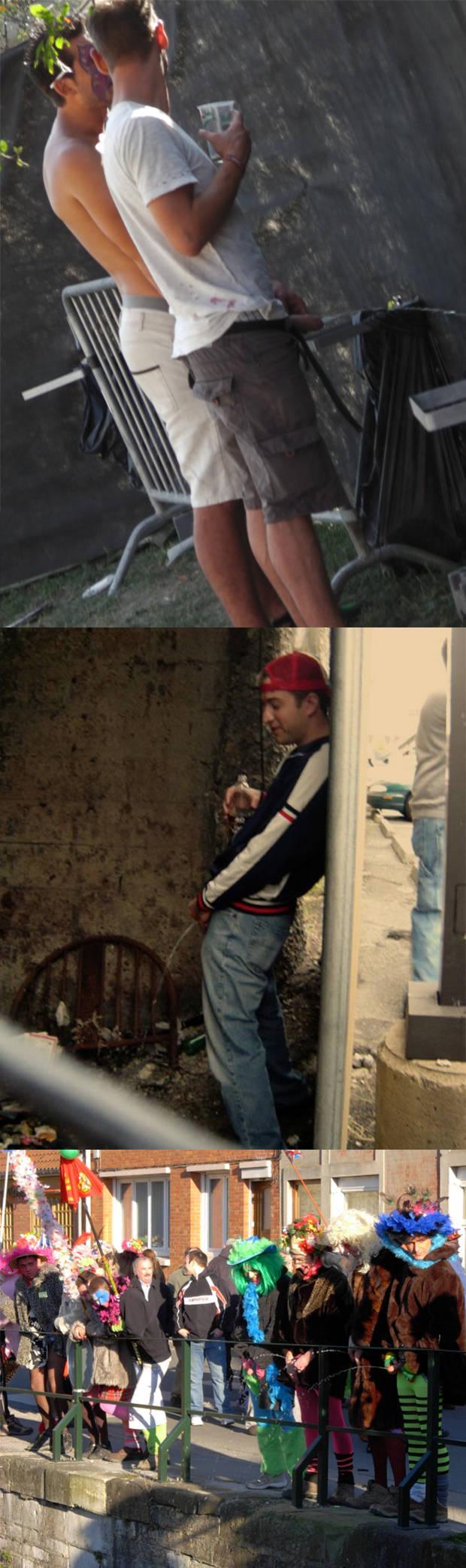 drunk guys peeing in public