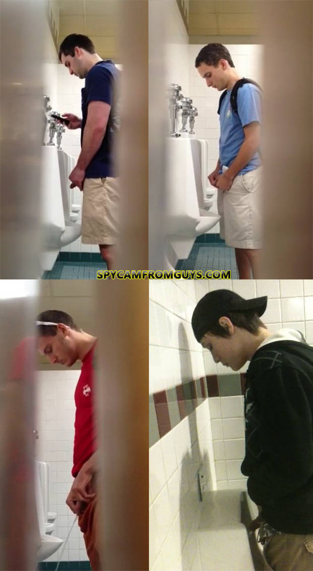 men caught peeing urinals