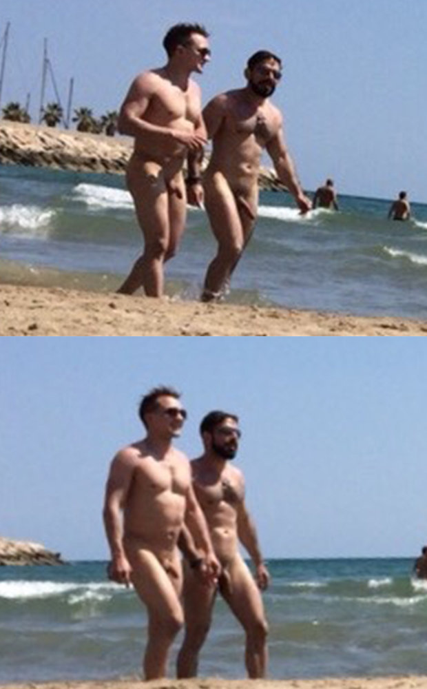 candid couple naked guys beach