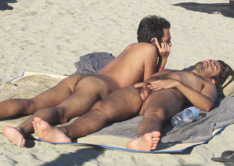 Nude sun bathing men