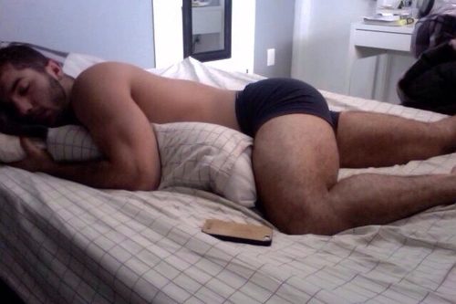 sexy hairy guy sleeping