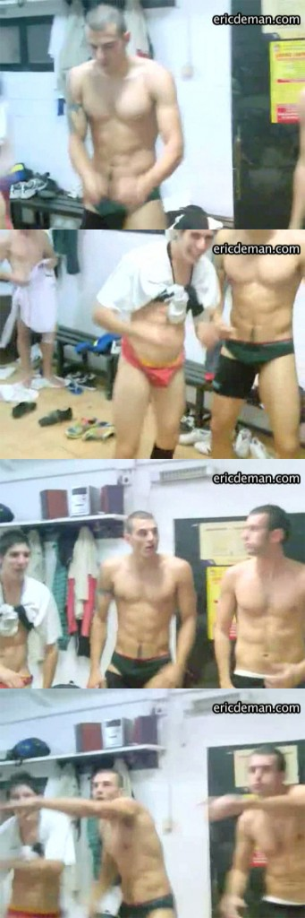 guys fooling around in lockerroom