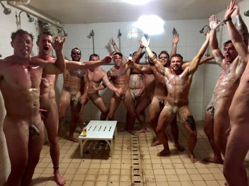 naked sportsmen celebration