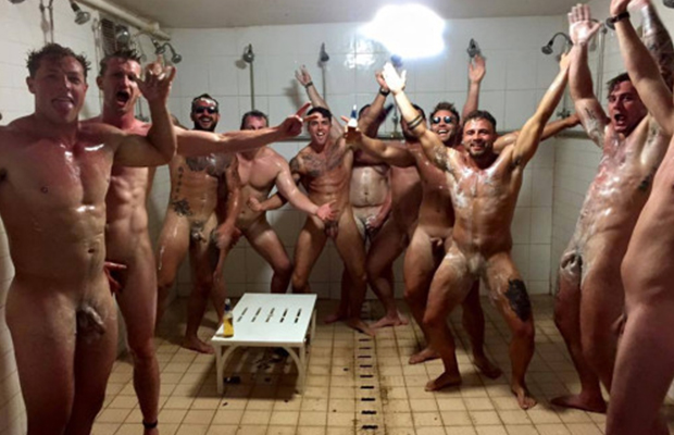 naked sportsmen lockerroom