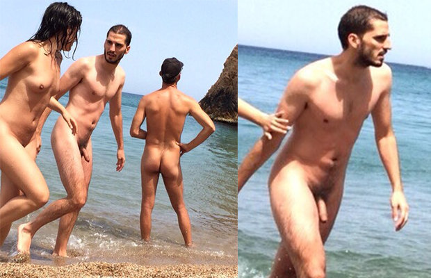 Nudist straight guy on the beach