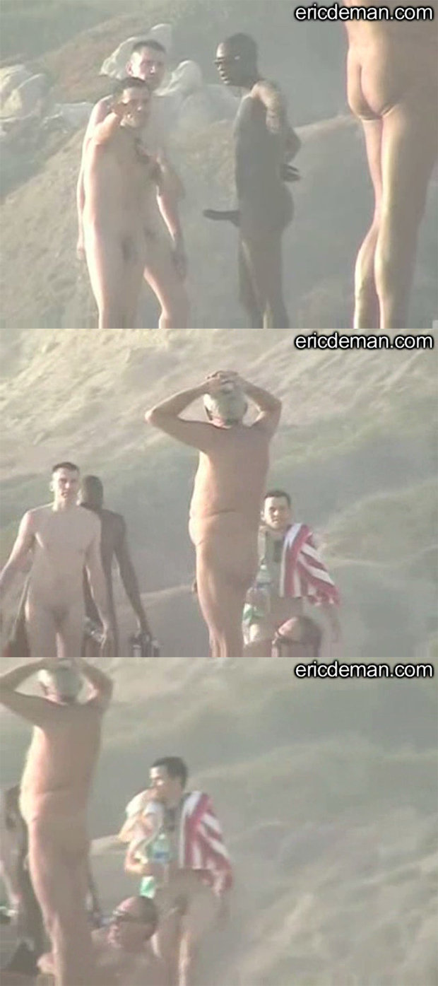 nudist man hard on