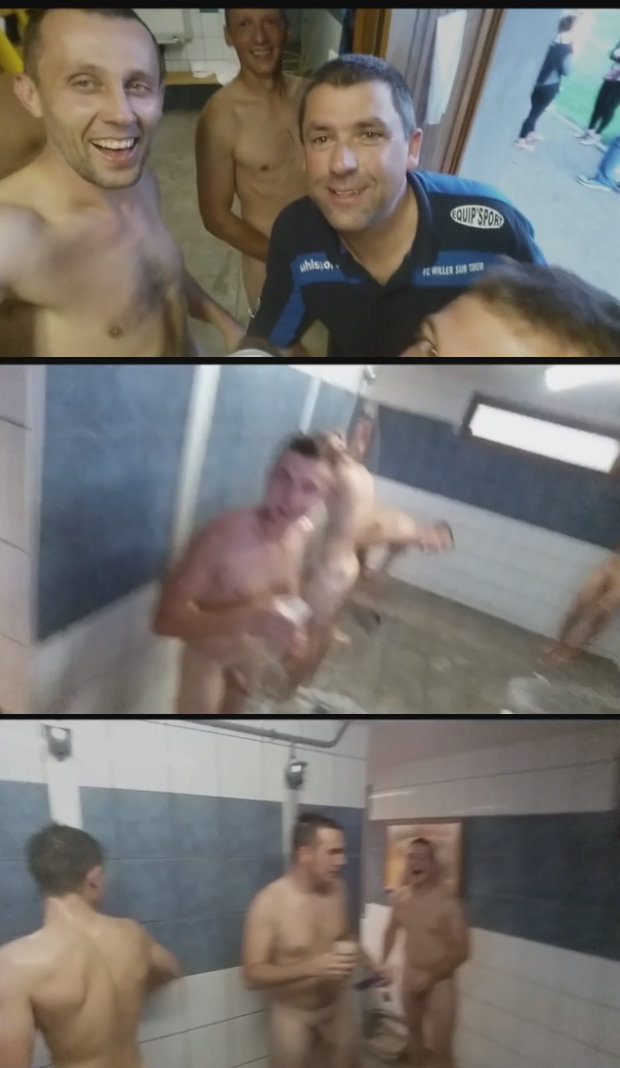 naked sportsmen shower
