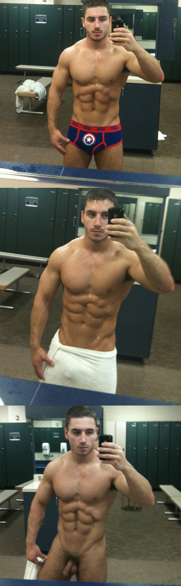 naked stud selfie lockerroom