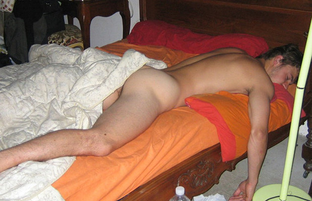 nude dude sleeping
