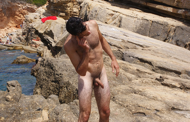 candid nudist man caught beach