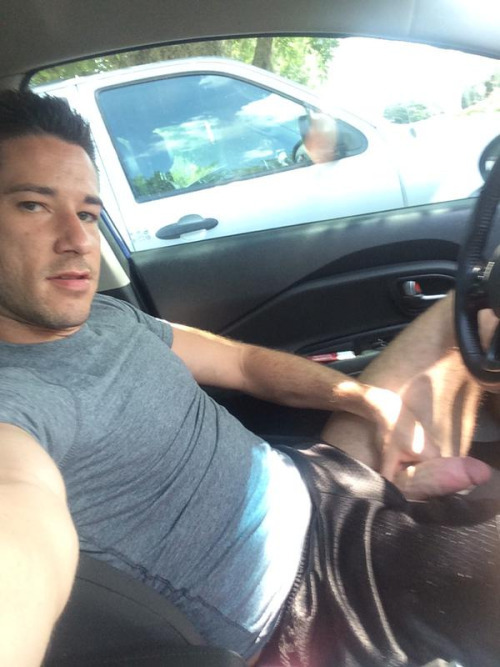 guy cock out car selfie