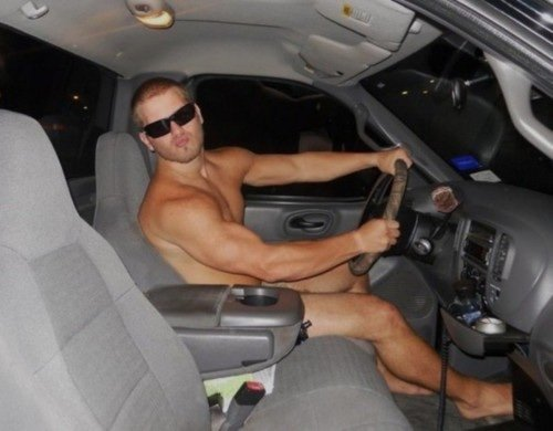 guy driving naked