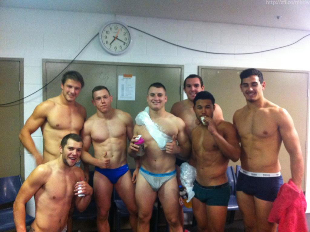 lockerroom guys underwear group selfie