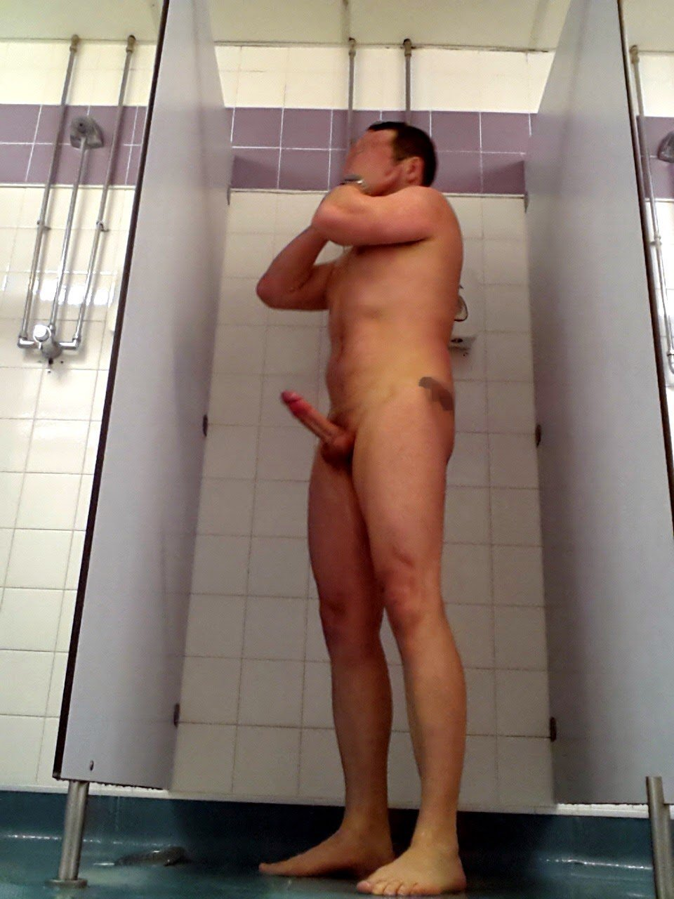 naked man shower hardon