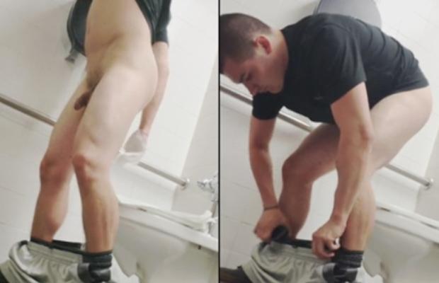 guy wiping ass public toilet