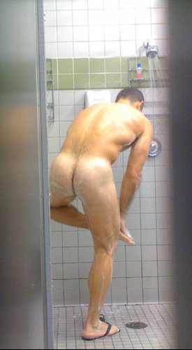 sexy guy naked shower spy