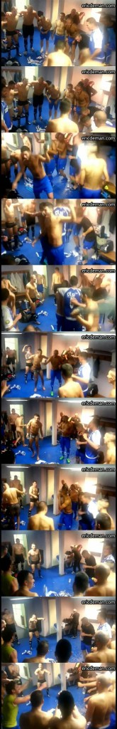 footballers lockerroom celebration