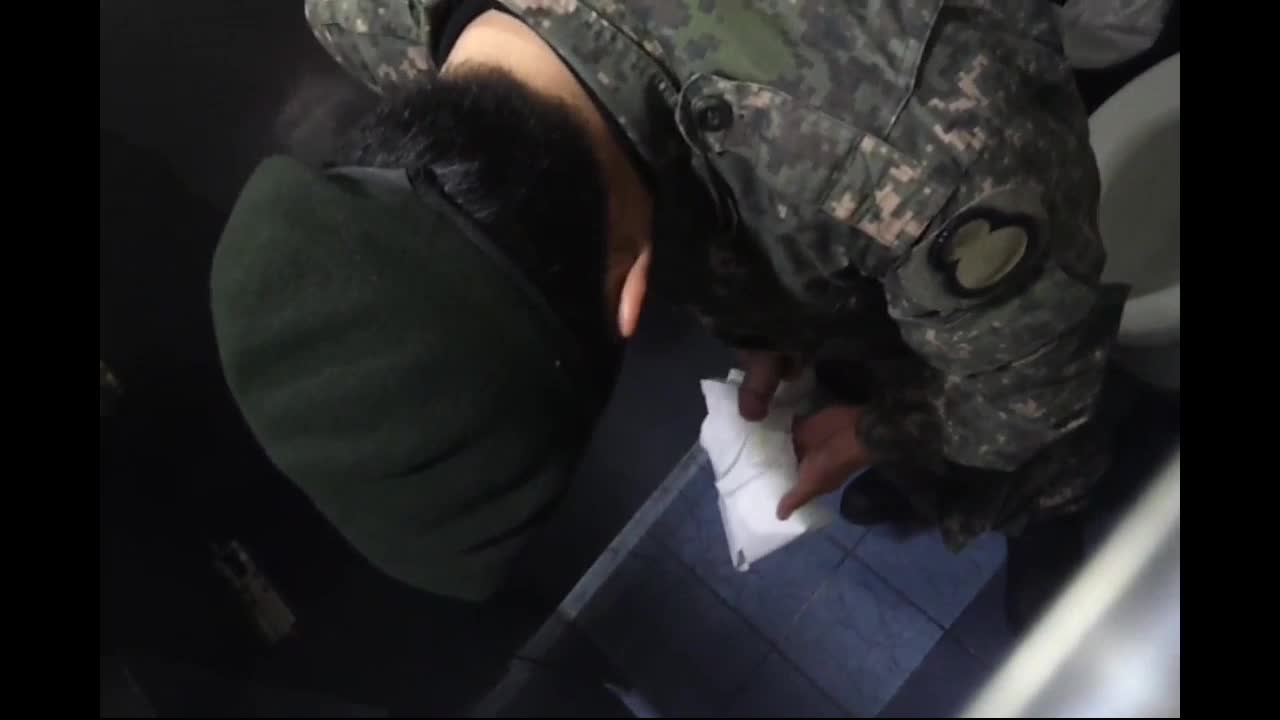 military guy jerking toilet