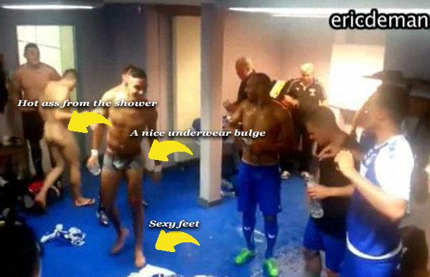 naked footballers lockerroom celebration