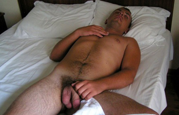guy sleeping naked cock out