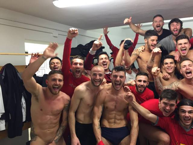 naked italian footballers celebration