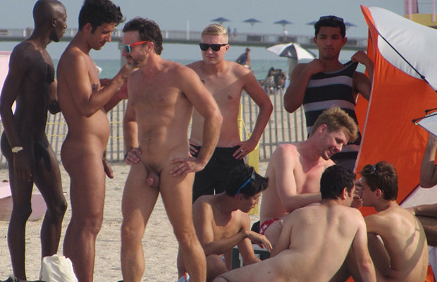 nudist guys caught on the beach