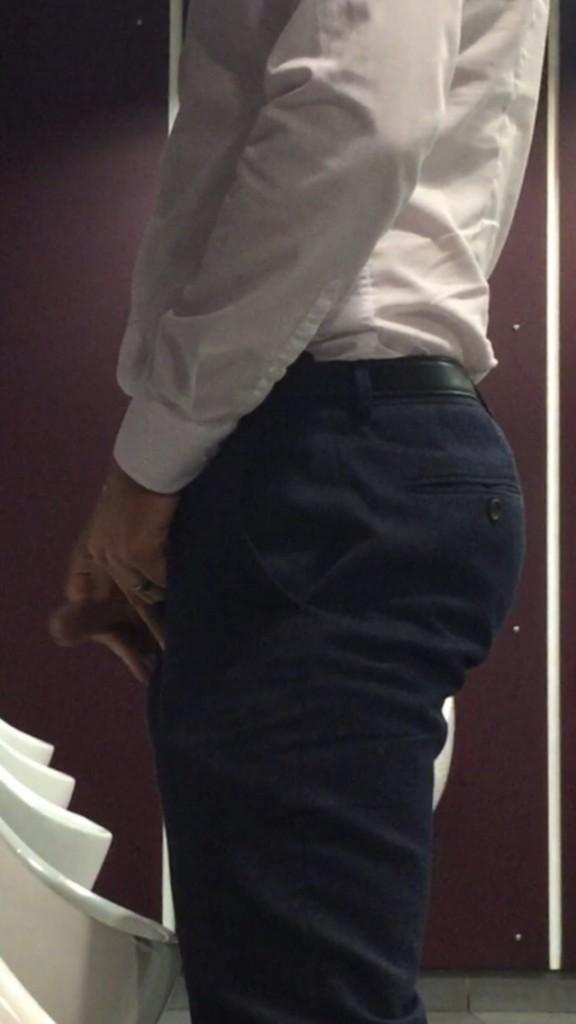 uncut dick peeing urinal