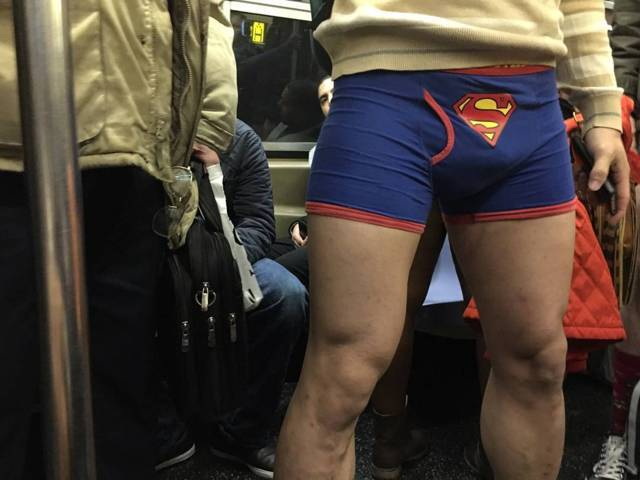 underwear bulge during no pants tube ride