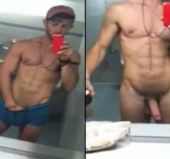 horny naked guy posing in the mirror of public toilet