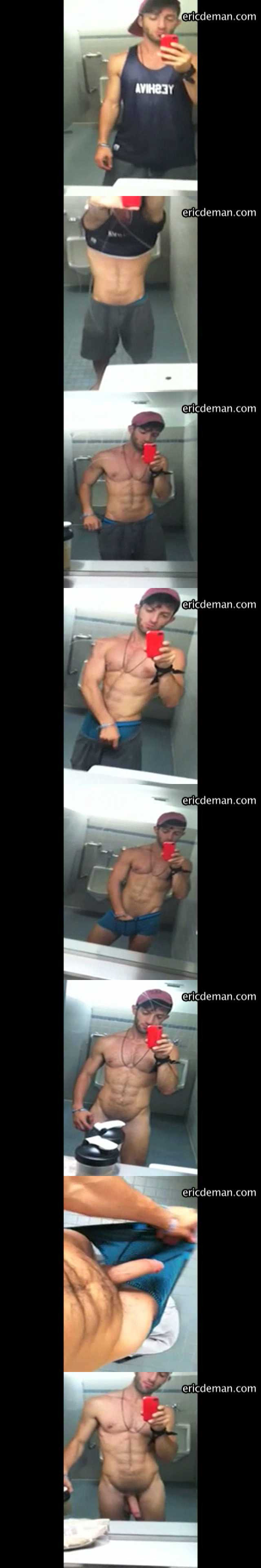 muscle gym dude posing naked in the mirror