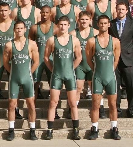 sportsmen in spandex singlet visible penis line