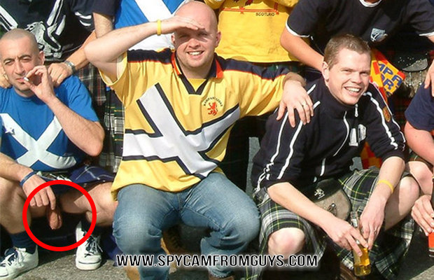 supporter caught dick slip under kilt