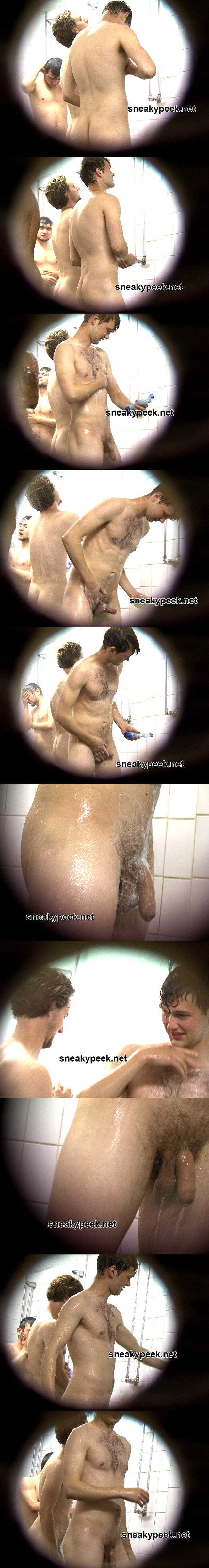 unaware naked guys shower spycam