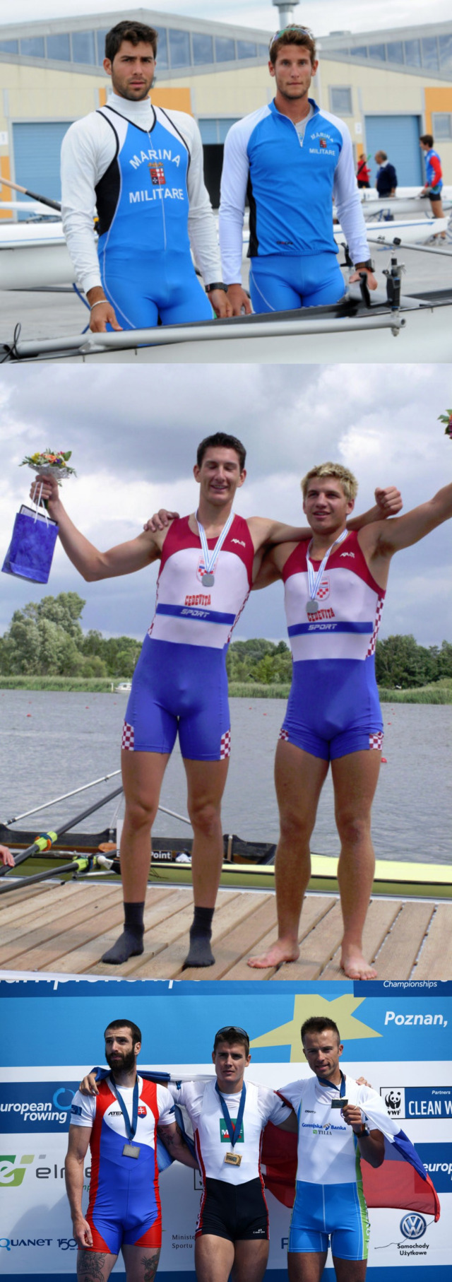 Rowers and athletes wearing tight spandex singlets