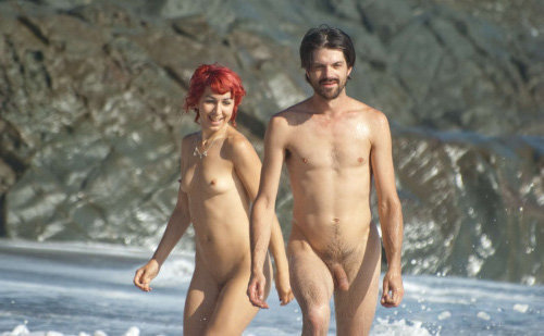 straight nudist man with girlfriend