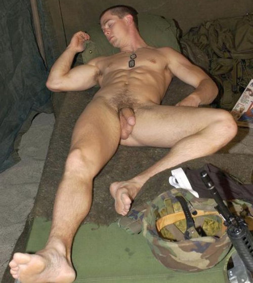 military guy caught sleeping naked