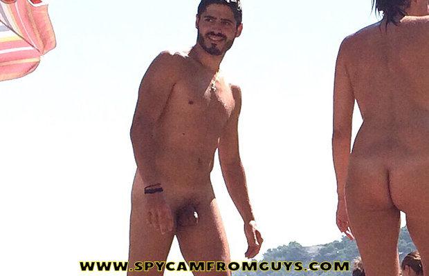 Nude men group elephant walk