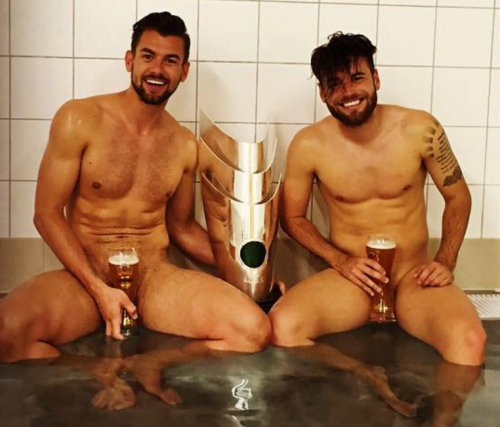 sportsmen naked celebration bath tub