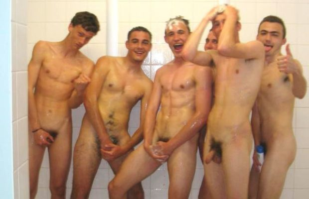 straight friends shower together