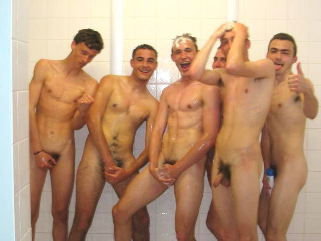 Guys showering together