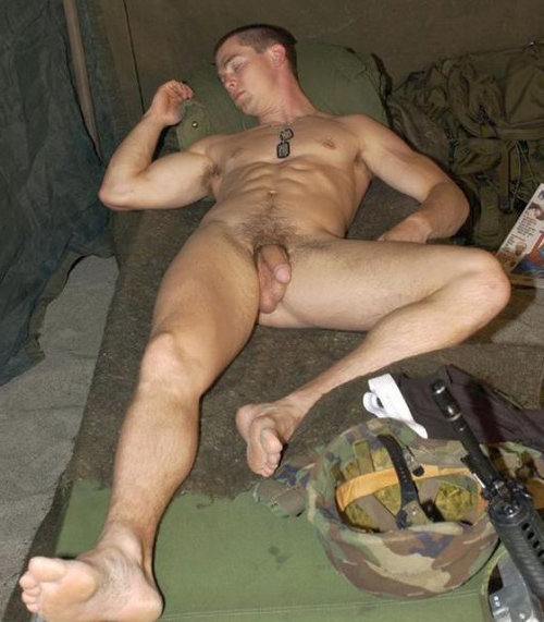 Army dude sleeping nude